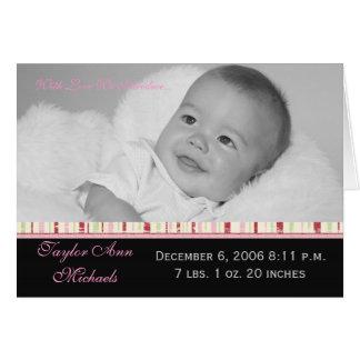 Striped Ribbon Birth Announcement