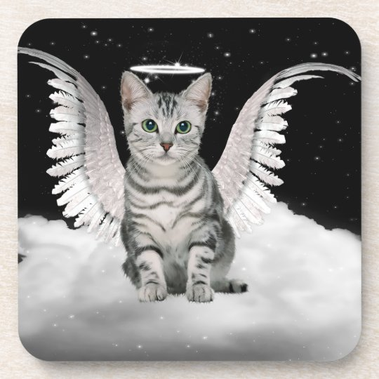Striped Silver Tabby Angel Cat for Pet Lover Coaster