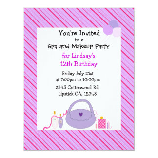Striped Spa and Makeup Birthday Invitation