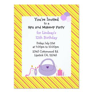 Striped Spa and Makeup Birthday Invitation