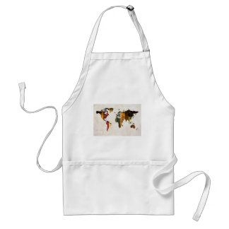 Striped World Map Vintage Style Adult Apron