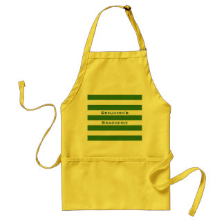 STRIPES adjustable Green with Name Standard Apron