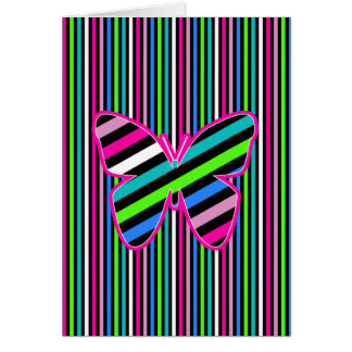 Stripes and Butterflies - Note Card