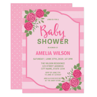 pink rose baby shower invitations