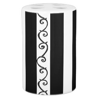 Stripes and Thorny Vines Soap Dispenser And Toothbrush Holder