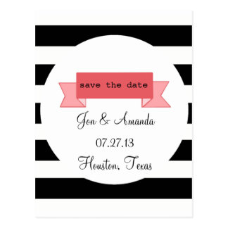 Stripes & Banner Save the Date Postcard