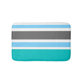 Stripes Blue Green Teal Grey Bath Mats