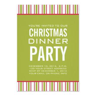 "STRIPES CHRISTMAS DINNER PARTY INVITATION 5"" X 7"" INVITATION CARD"