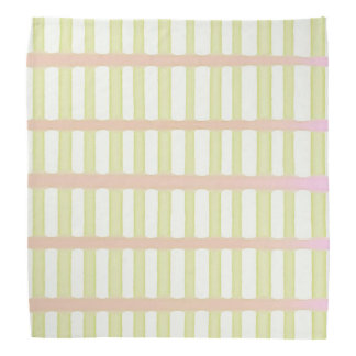 Stripes green and pink on white bandana