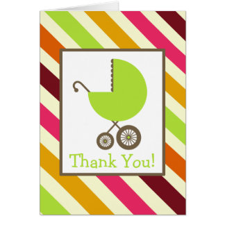 Stripes & Green Carriage Baby Shower Thank You Cards