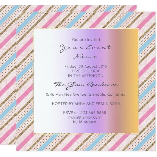 Stripes Lines Pink Blue Gold Antoinette Pastel Card