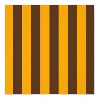 Stripes - Orange and Brown 13 Cm X 13 Cm Square Invitation Card