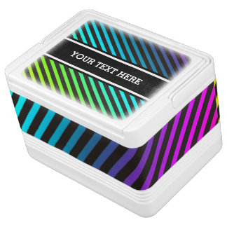 Stripes Pattern black & colored + your text & back Chilly Bin