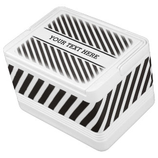 Stripes Pattern black & white + your text Chilly Bin