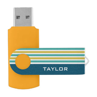 Stripes Pattern custom monogram USB drives