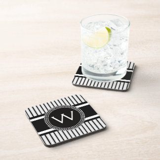 Stripes Pattern with Cool Monogram Coaster