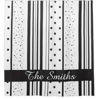 Stripes Polka Dots Custom Family Name Shower Curtain