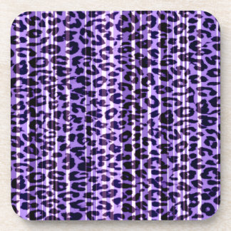 Stripes purple animal skin texture of leopard coaster