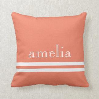 Stripes Traced Font Name White Peach Throw Pillow