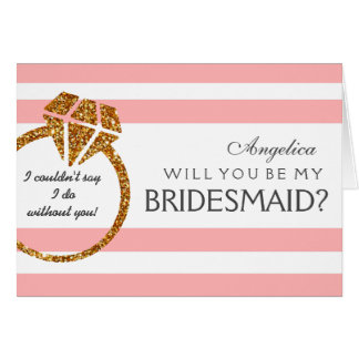 Stripes Will You Be My Bridesmaid Invitation Card
