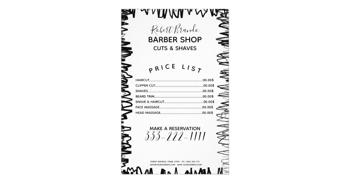 stroke line border black  u0026 white barber price list flyer