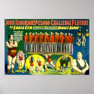 Strong Men Circus Show Vintage 1898 Poster