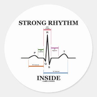 Strong Rhythm Inside ECG EKG Heartbeat Round Sticker