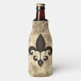 Stubborn Bar   Sepia Brown Fleur de Lis Butterfly Bottle Cooler