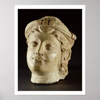 Stucco head, Gandhara, 4th century AD Poster