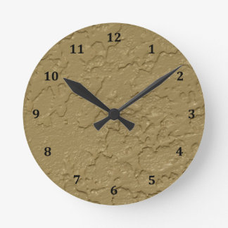 Stucco Taupe beige Cement Round Clock