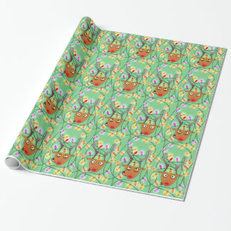 Stuck reindeer wrapping paper