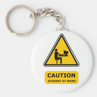 Student at work keyring basic round button key ring