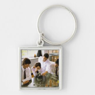 Students in School Chemistry Lab Keychains