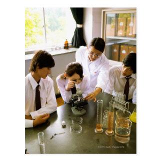 Students in School Chemistry Lab Postcard