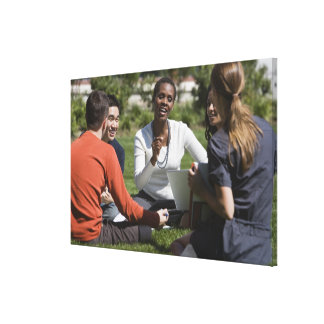 Students with professor stretched canvas print