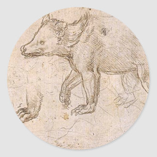 Studies of a BeWalking by Leonardo da Vinci Classic Round Sticker