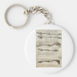 Studies of the Arm by Leonardo Da Vinci c. 1510 Key Ring