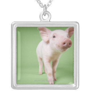 Studio Cut Out of a Piglet Standing Silver Plated Necklace
