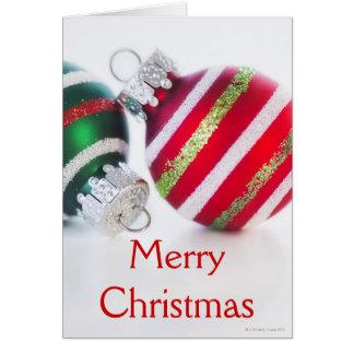 Studio shot of christmas baubles 2 card