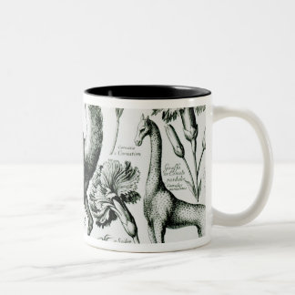 Study of Animals and Flowers, engraved Two-Tone Coffee Mug