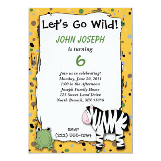Stuffed Animals Go Wild Zebra Birthday Party Invit 13 Cm X 18 Cm Invitation Card