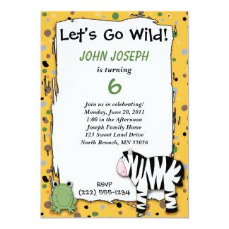 Stuffed Animals Go Wild Zebra Birthday Party Invit Card