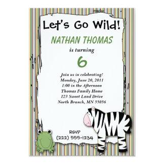 Stuffed Animals Go Wild Zebra Birthday Party Strip 13 Cm X 18 Cm Invitation Card
