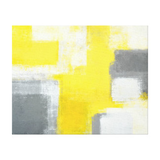'Stumbled' Grey and Yellow Abstract Art Canvas Print