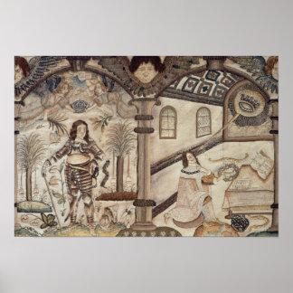 Stumpwork depicting Charles I  and Charles II Poster