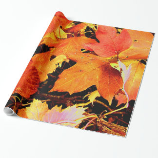 Stunning Bold Orange Autumn Leaves Wrapping Paper