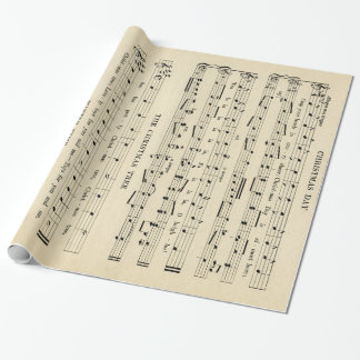 Stunning Unusual Vintage Christmas Music Sheet Wrapping Paper