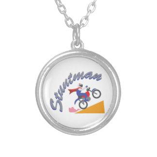 Stuntman Bike Round Pendant Necklace