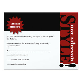 Style! Bat Mitzvah Magazine Reply Card Red 11 Cm X 14 Cm Invitation Card