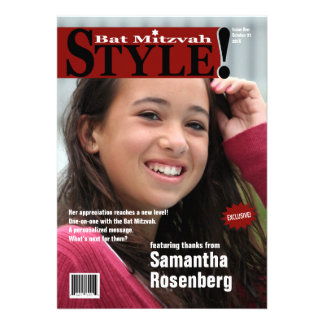 Style! Bat Mitzvah Magazine Thank You Card in Red Custom Announcements